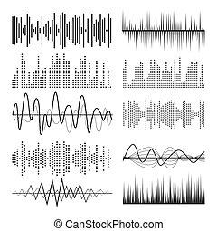 som, equalizador, jogo, charts., abstratos, pulso, musical, música, vector., ondas, áudio, tecnologia, ou
