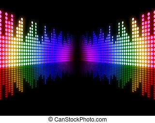 som, equalizador, meios, pista, equaliser, música