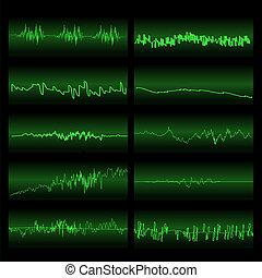 som, equalizador, set., verde, ondas, tela