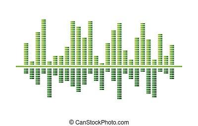 som, equalizador, spectrum-bars., música, pulse., wave., luminoso, vetorial, verde, projeto digital, áudio