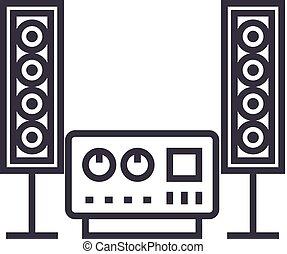 som, estéreo, golpes, editable, sistema, ilustração, sinal, vetorial, ícone, alta-fidelidade, linha, fundo