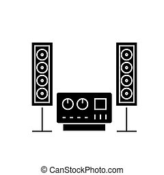som, estéreo, ilustração, isolado, sistema, sinal, alta-fidelidade, vetorial, experiência preta, ícone