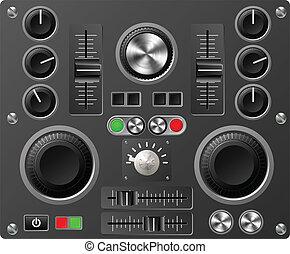 som, estúdio, tábua, controles, ou