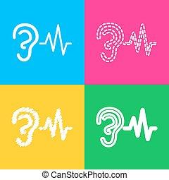 som, estilos, cor, sinal., ouvindo, quatro, squares., orelha, ícone