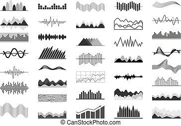 som, gráficos, pretas, ondas, indicadores, branca