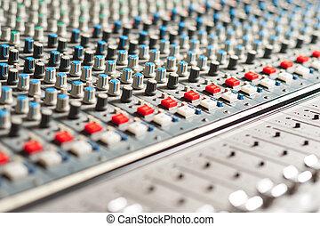 som, grande, estúdio, misturador, equipamento