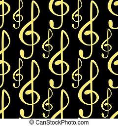 som, illustration., texto, notas, músico, writting, seamless, sinfonia, colorfull, símbolos, vetorial, música, padrão experiência, melodia, áudio