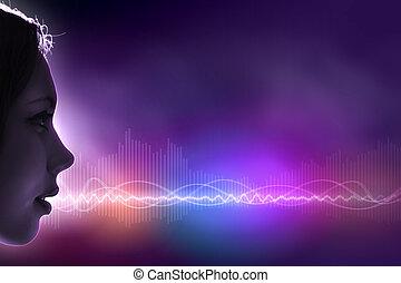 som, ilustração, onda