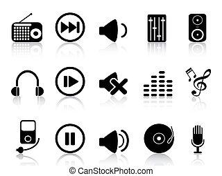 som, jogo, ícones