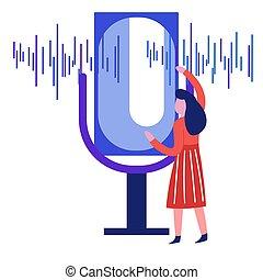 som, microfone, mulher, isolado, onda, registro, voz, ícone