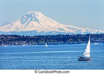 som, montanha, norte, puget, monte, washington, neve, pacífico, estado, chuvoso, veleiros, seattle, noroeste