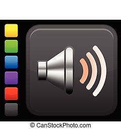 som, orador, ícone, ligado, quadrado, internet, botão
