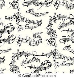 som, padrão, notas, músico, writting, seamless, ilustração, colorfull, símbolos, vetorial, música, sinfonia, fundo, texto, melodia, áudio