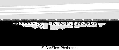 som, ponte, estrada ferro, apare