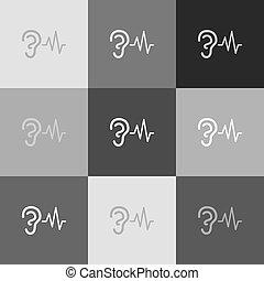 som, popart-style, sinal., grayscale, ouvindo, versão, vector., icon., orelha