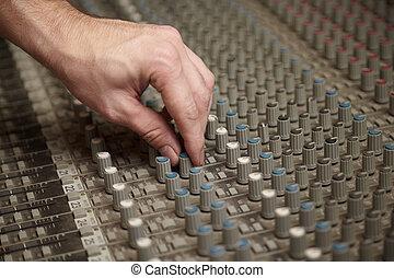som, produtor, girar, um, regulador, de, antigas, sujo,...