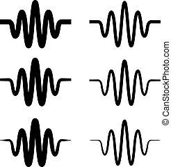 som, símbolo, sinusoidal, pretas, onda
