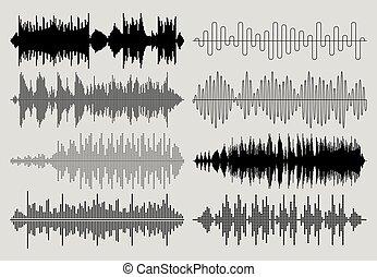 som, set., gráficos, pulso, musical, vetorial, música, ondas, áudio, ou