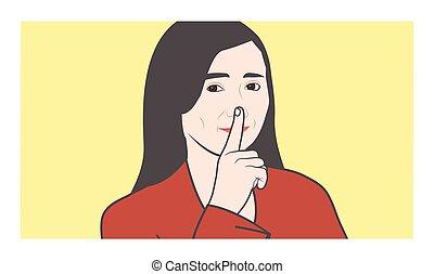 som, shhh, quieto, shush, dedo, fazer, favor, nariz