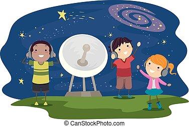 som, stickman, escutar, crianças, espaço ilustração