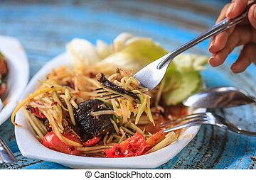 Thai delicious raw papaya salad