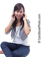 som, telefone, cabeça, mulher, escutar