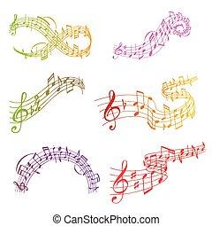 som, texto, notas, músico, writting, ilustração, colorfull, símbolos, vetorial, música, sinfonia, melodia, áudio