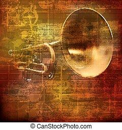 som, trompete, abstratos, grunge, fundo