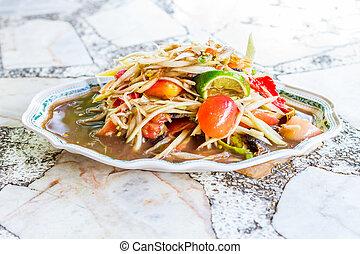 som tum, papaya spicy sweet and sour salad