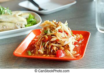 Som Tum, Thai papaya salad. Traditional Thai food