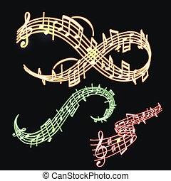 som, vetorial, texto, notas, músico, néon, ilustração, colorfull, símbolos, sinfonia, música, writting, melodia, áudio