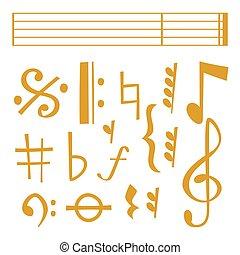 som, vetorial, texto, notas, músico, writting, colorfull, símbolos, sinfonia, música, melodia, áudio