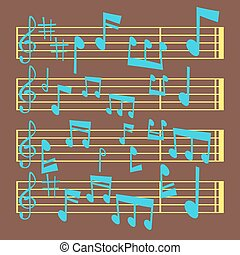 som, vetorial, texto, notas, músico, writting, ilustração, colorfull, símbolos, sinfonia, música, melodia, áudio