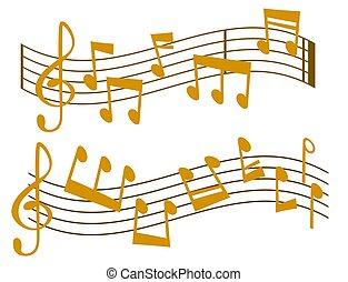 som, vetorial, texto, notas, músico, writting, ilustração,...
