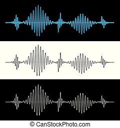som, vibração, sinal, ilustração, onda, vetorial