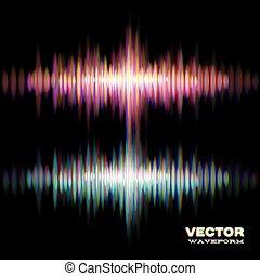 som, waveform, estéreo, brilhante