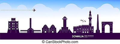 somalia, bestimmungsort, großartig, illustration., reise, ...