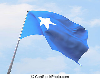 Somalia flag flying on clear sky.