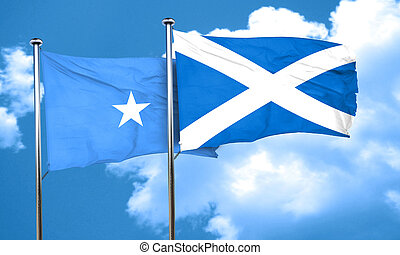 Somalia flag with Scotland flag, 3D rendering