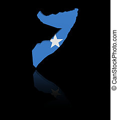 Somalia map flag with reflection illustration