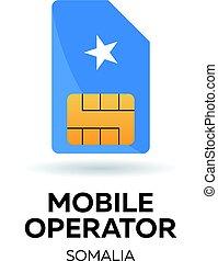 Somalia mobile operator. SIM card with flag. Vector illustration.