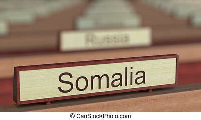 Somalia name sign among different countries plaques at...