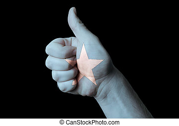 somalia national flag thumb up gesture for excellence and achiev
