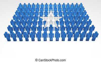 Parade of 3d people forming a top view of Somalian flag. With copyspace.