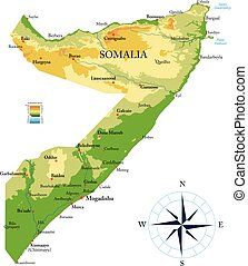 Highly detailed physical map of the Somalia,in vector format,with all the relief forms,regions and big cities.