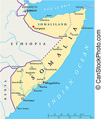 Somalia Political Map - Political map of Somalia with...
