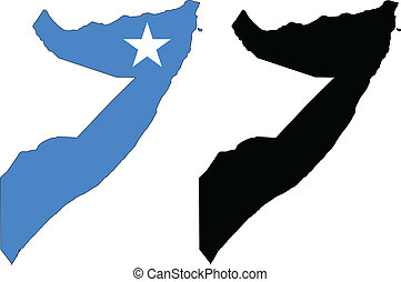 vector map and flag of Somalia with white background.