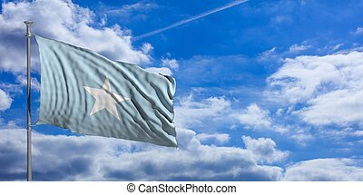Somalia waving flag on blue sky. 3d illustration
