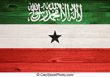 Somaliland Flag painted on old wood plank background.