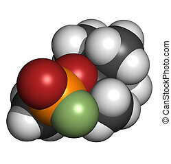 Soman nerve agent, molecular model. Soman is a chemical weapon, classified as a weapon of mass destruction. Atoms are represented as spheres with conventional color coding: hydrogen (white), carbon (grey), oxygen (red), phosphorus (orange), fluorine (green)